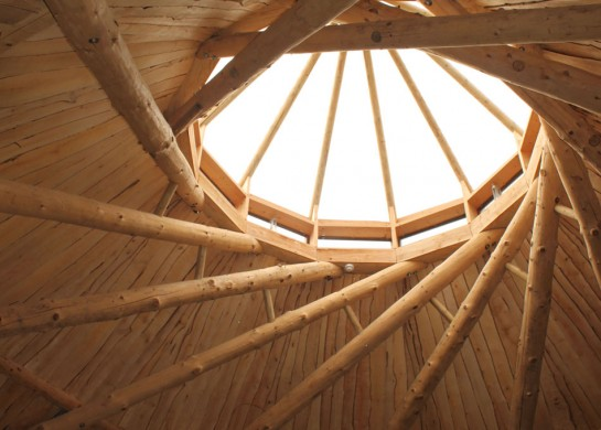 Earthbag spiral roof